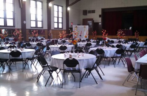Vallejo Community Center. Auditorium shown prepared for a holiday party.